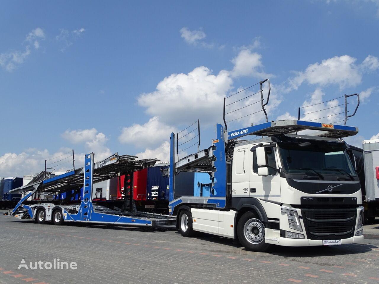 小汽车运输车 VOLVO FM 460 / EURO LOHR / AUTOTRANSPORTER / 9 CARS / ACC / ROLFO EGO + 小汽车运输拖车