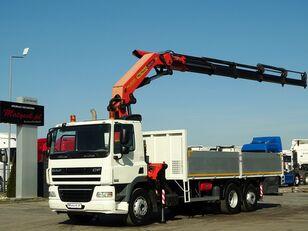 平板卡车 DAF CF 85.360 / 6X2 / BOX - 6,8 M  + CRANE